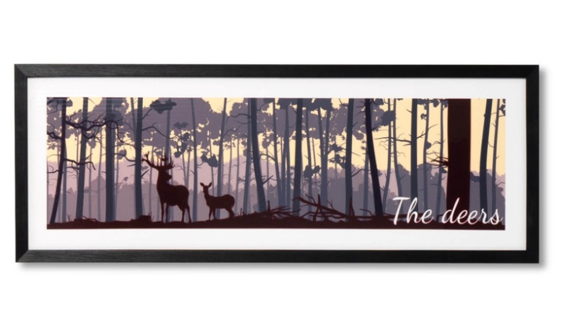 Cuadro The deers negro 80x30 cm