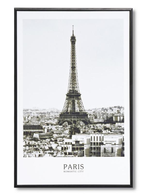 Cuadro Eiffel negro 40x60 cm