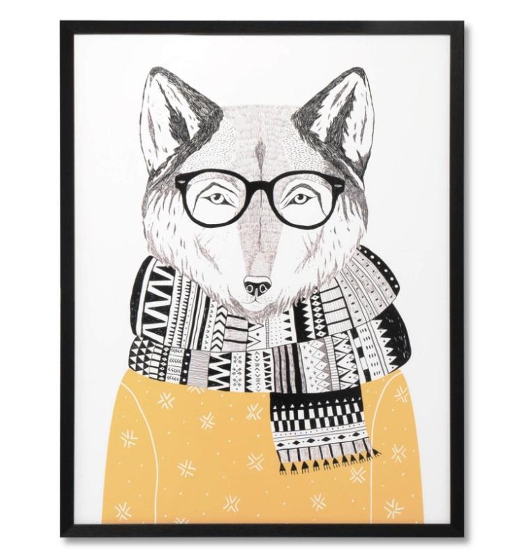 Cuadro Fox negro 60x80 cm