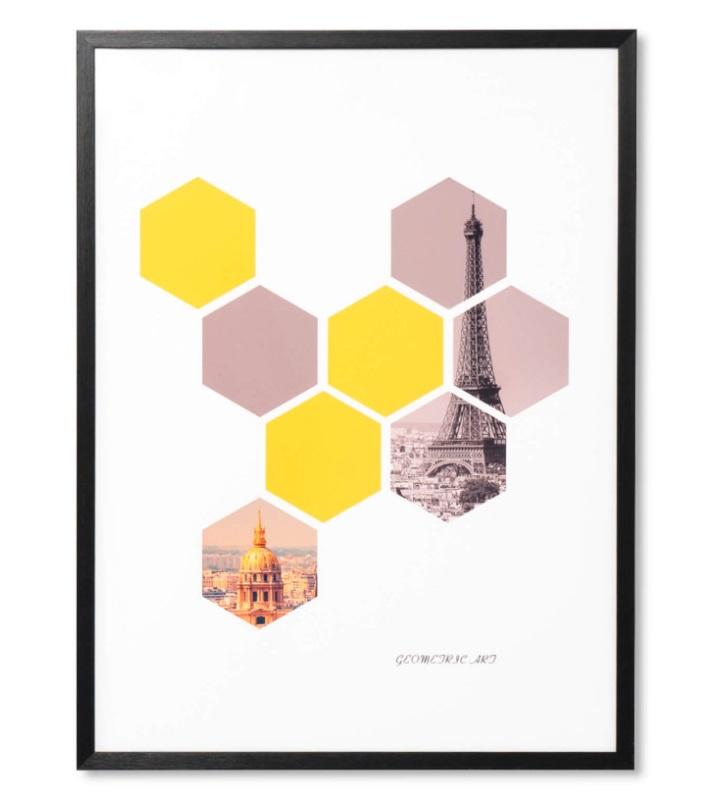 Cuadro Hexagon negro 60x80 cm
