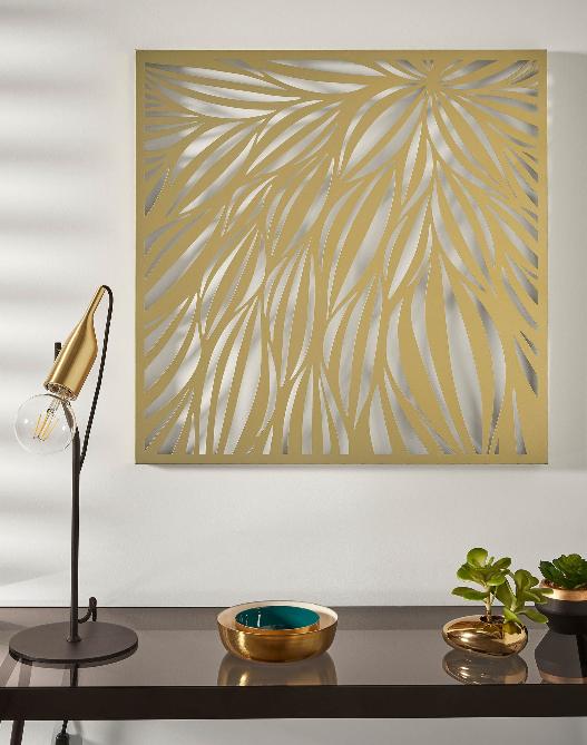 Cuadro Hojas metal dorado 60x60 cm