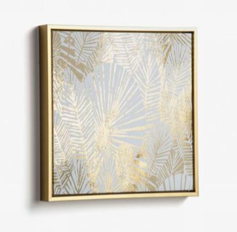 Cuadro Tropical dorado 40x40 cm