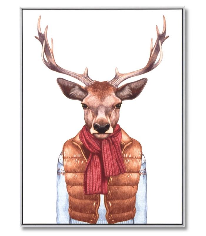 Cuadro Deer Vest blanco 60x80 cm