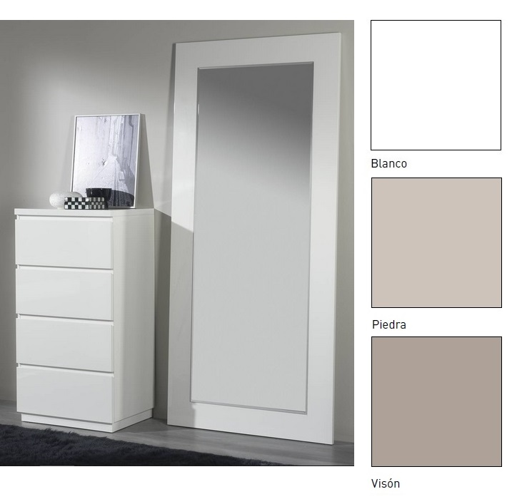 Espejo vestidor satinado blanco piedra o vison 90x200 E-77