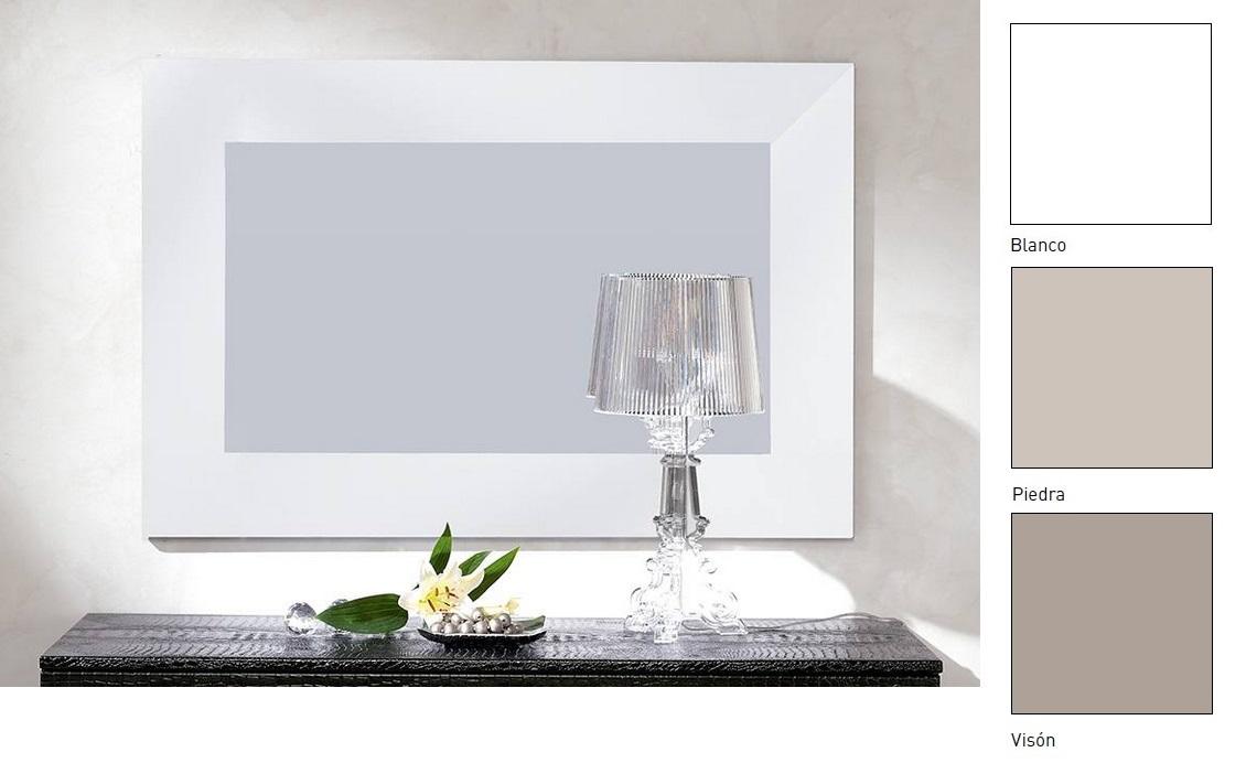 Espejo satinado blanco piedra o vison 105x70 E-96