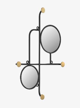 Espejo con colgadores Lira de metal dorado 50x35 cm