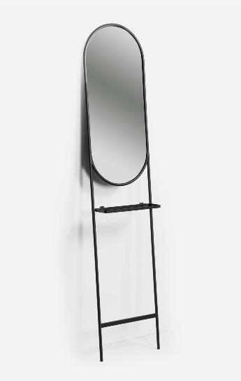 Espejo con estante Lira de acero negro 41x184 cm
