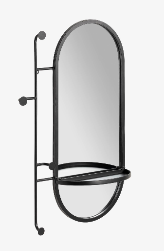 Espejo con colgadores Lira de acero negro 52x82 cm