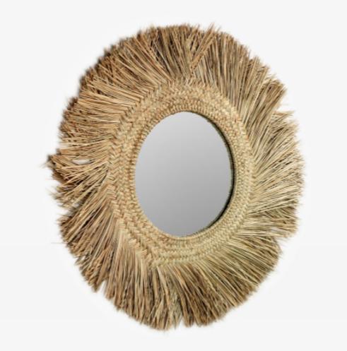 Espejo redondo Mendong de fibras naturales 72 cm