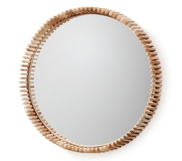 Espejo redondo madera de teka 85