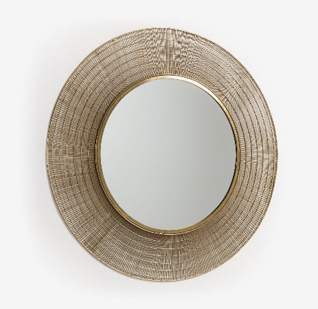 Espejo Venice de acero color dorado 80 cm