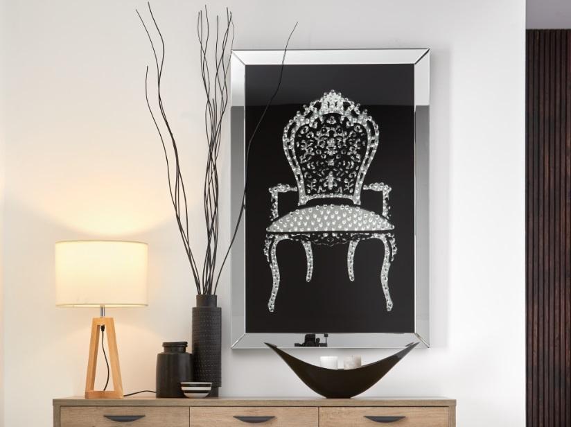 Cuadro espejo silla cristales swarovski E-126