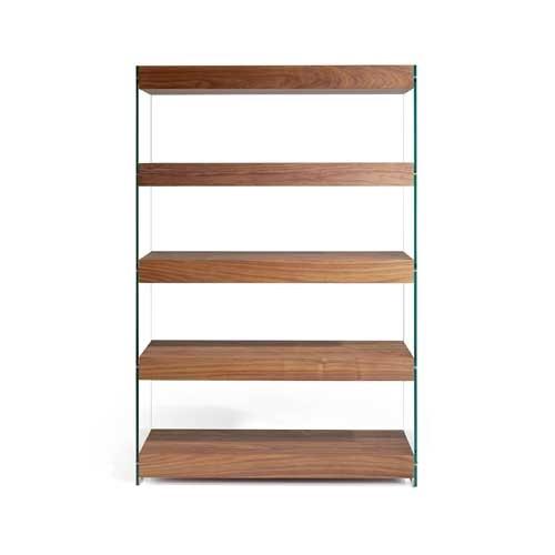 Estanteria madera nogal vidrio