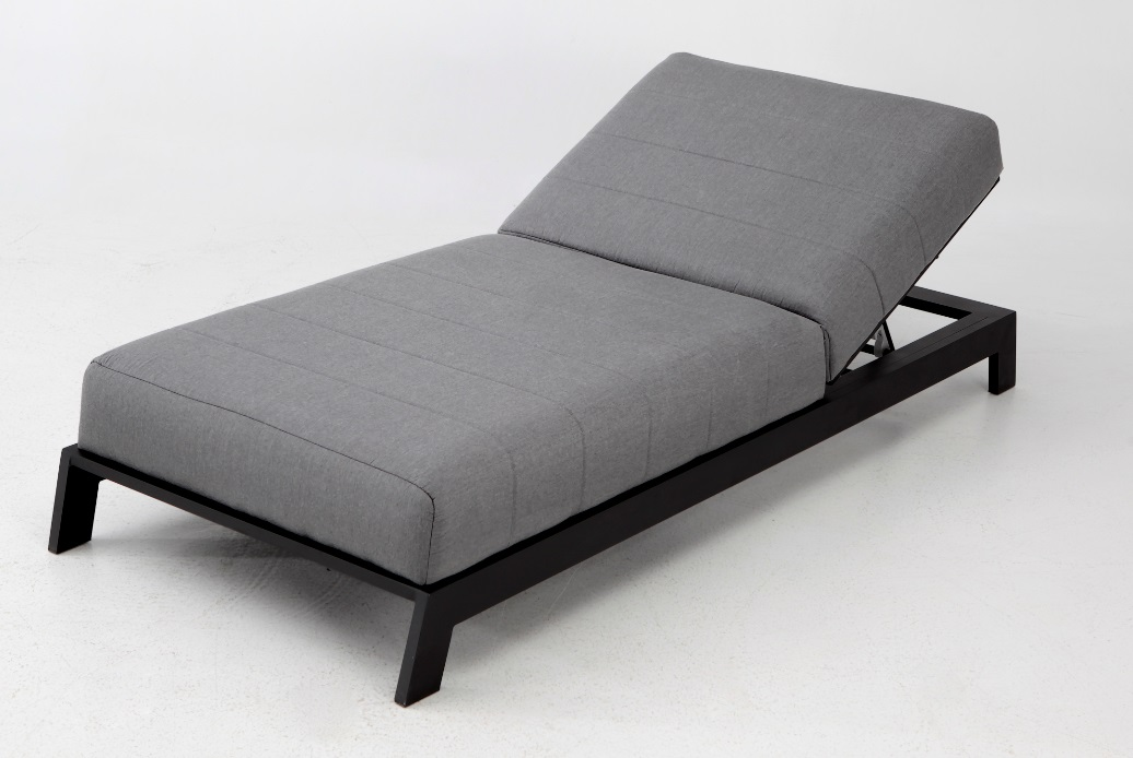 KEA  tumbona terraza lounge tapizado gris aluminio negro