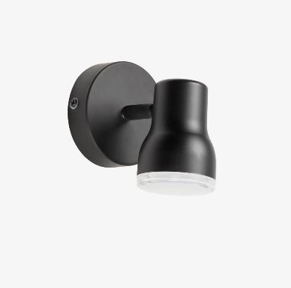 Lampara aplique giratoria de acero color negro