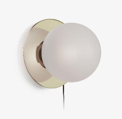 Lámpara aplique Jasmine de latón y cristal