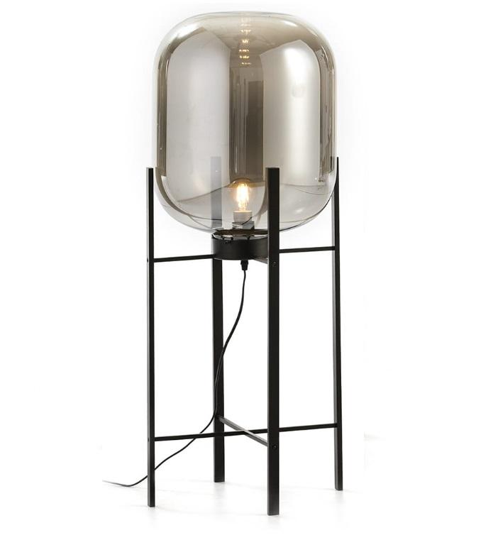 Lampara de pie cesta metal negro cristal espejo