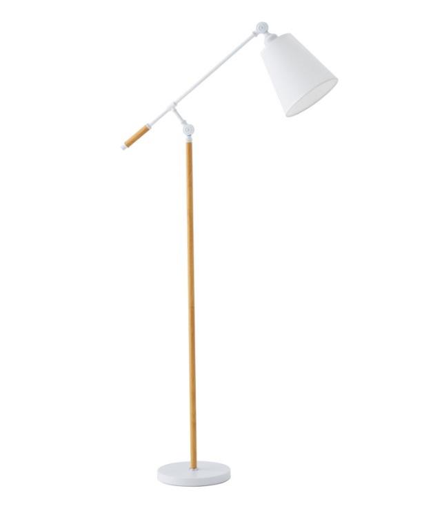 Lámpara de pie Aloia de metal blanco