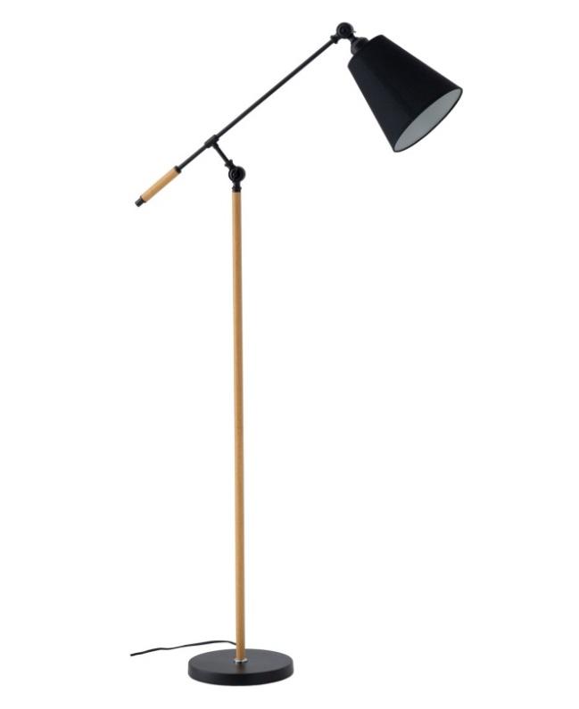 Lámpara de pie Aloia de metal negro