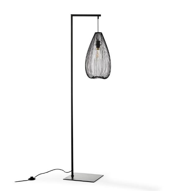 Lampara de pie rejilla metal negro LT-15012BK