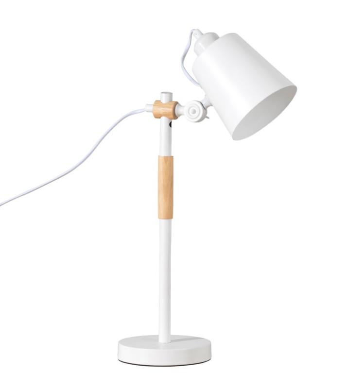 Lámpara de sobremesa Iria de metal y madera blanco
