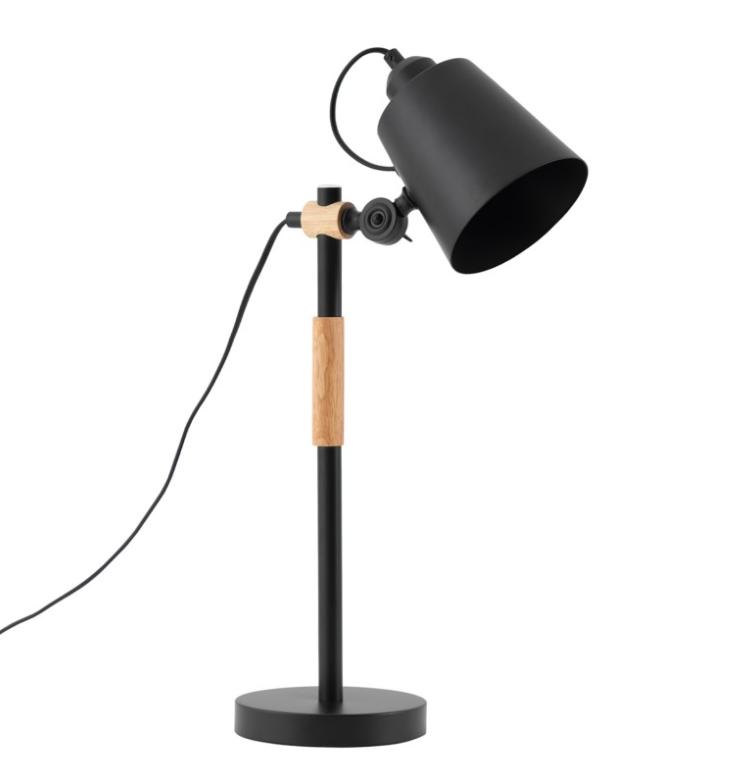 Lámpara de sobremesa Iria de metal y madera negro
