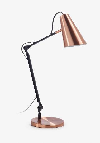 Lámpara de sobremesa Olimpia de acero y cobre