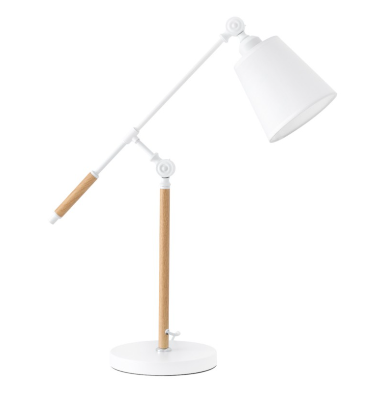 Lámpara de sobremesa Lizar de metal, madera y pantalla de tela blanco