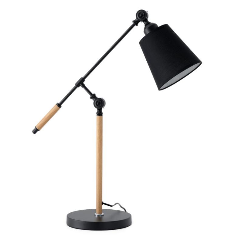 Lámpara de sobremesa Lizar de metal, madera y pantalla de tela negro