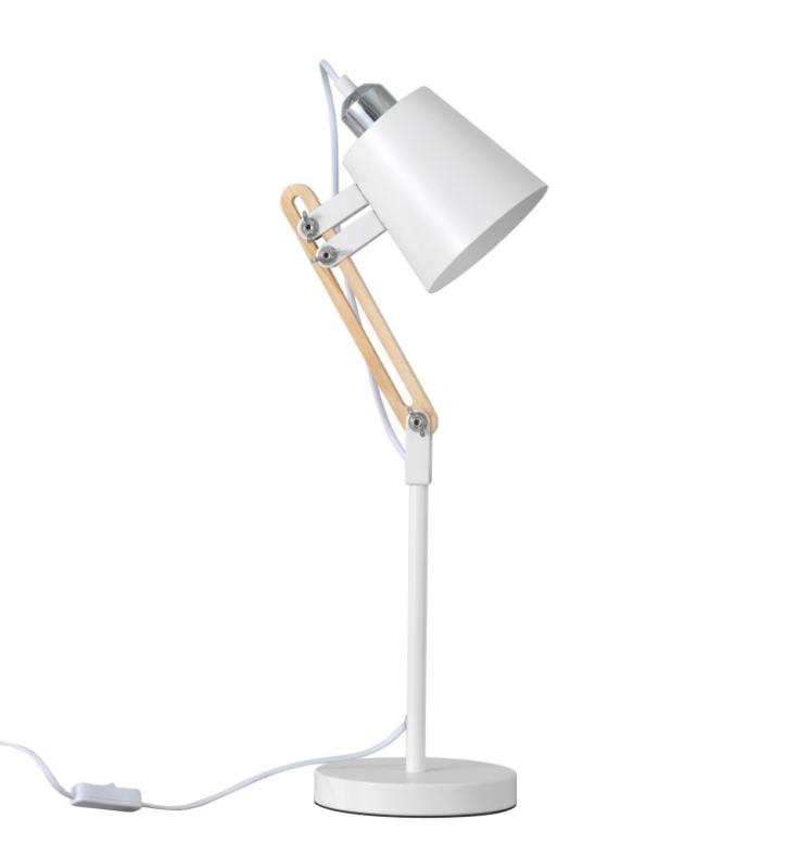 Lámpara de sobremesa Antia de metal y madera blanco