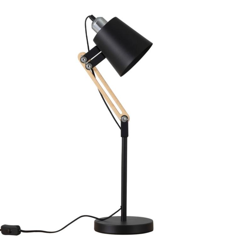 Lámpara de sobremesa Antia de metal y madera negro