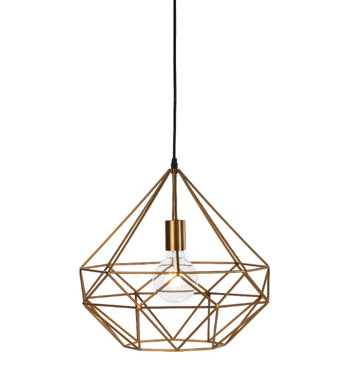 Lampara suspension diamante metal dorado PL-203
