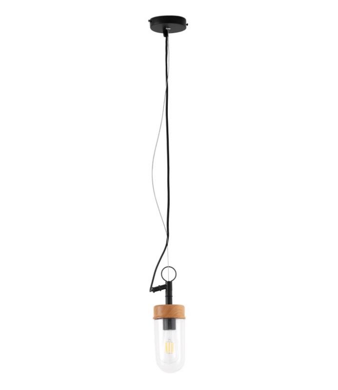 Lámpara de techo Biar de cristal con la madera y el metal negro