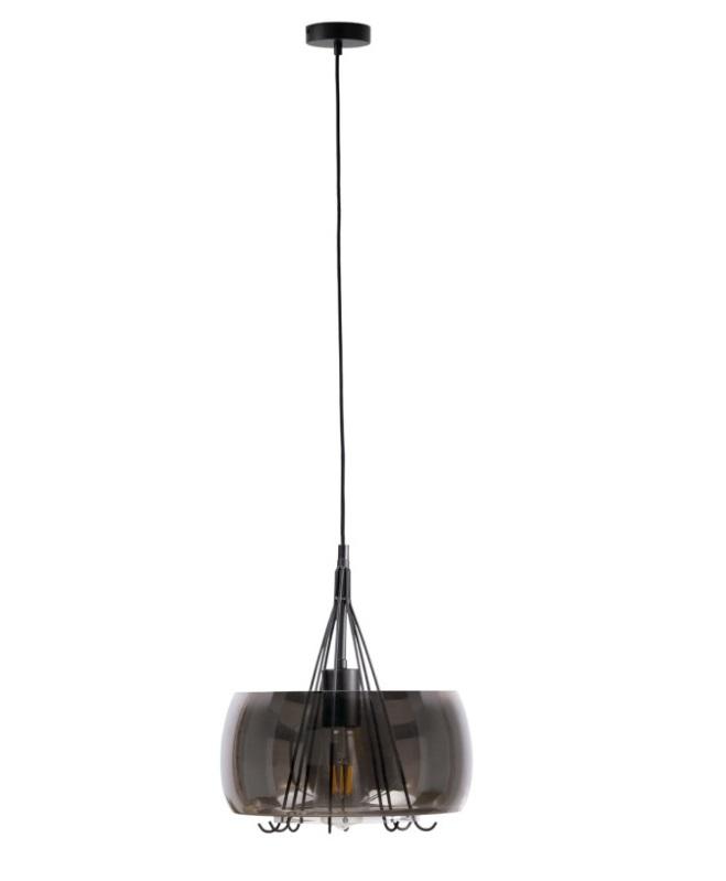 Lámpara Busot pantalla en cristal efecto smoke brillante y varillas metálicas