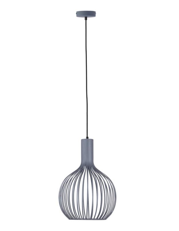 Lámpara Calig metal gris mate y con forma curva pera