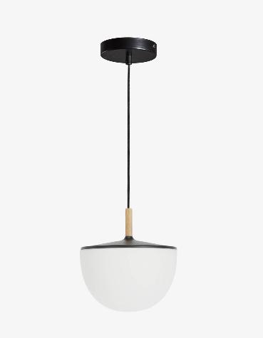 Lámpara de techo de cristal y madera