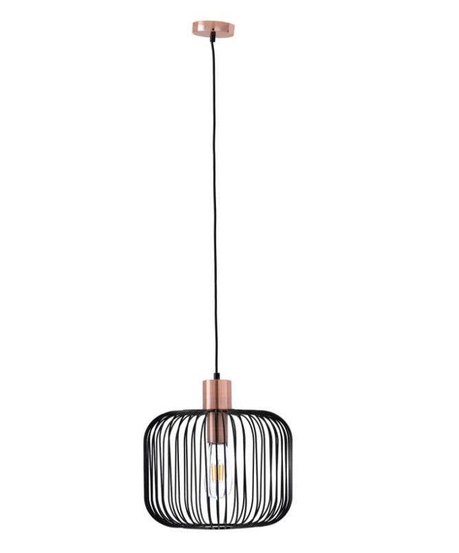 Lámpara Rossel metal negro y rematada metal cobrizo dorado