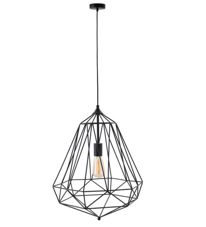 Lámpara Tirig de diseño trapezoidal en varilla metálica negra