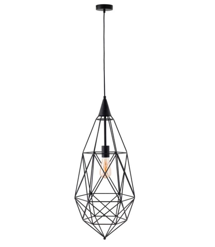 Lámpara Toras con formas geométricas fabricada en metal negro