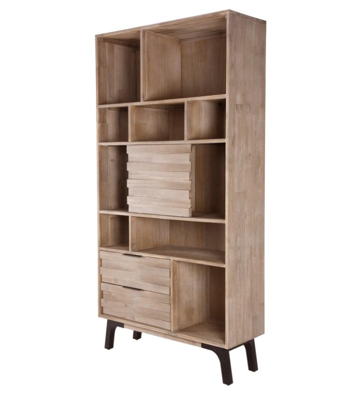 Librero alto Amsterdam madera maciza de acacia