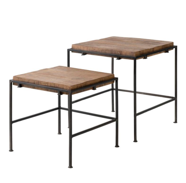 Set mesa auxiliar Zaid madera de mango 50/43cm