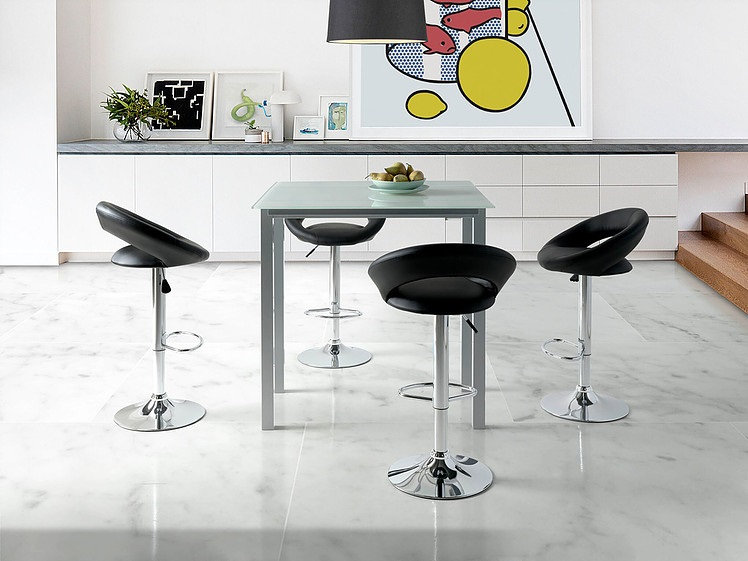 Conjunto de cocina mesa alta extensible cristal blanco leiria