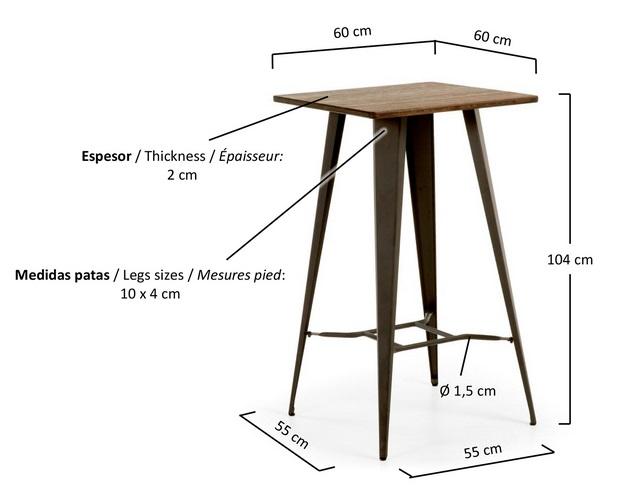 Conjunto tolix mesa alta taburetes metal grafito madera envejecido