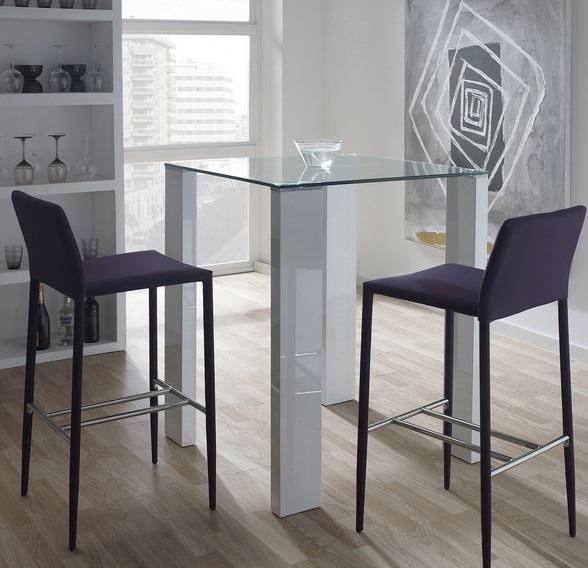 Mesa alta de bar Leila blanco brillo cristal 80x80