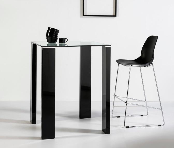 Mesa alta de bar Leila negro brillo cristal 80x80