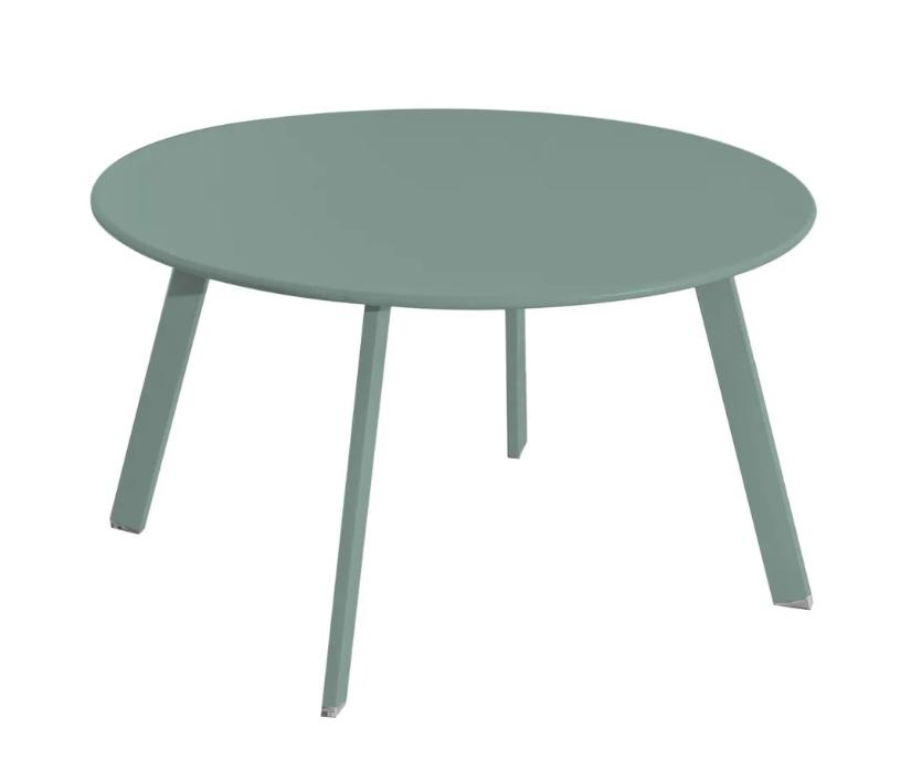 Mesa auxiliar anidable Marzia de acero color salvia 70x40 cm
