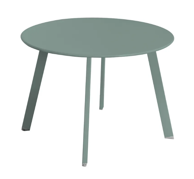 Mesa auxiliar anidable Marzia de acero color salvia 60x42 cm