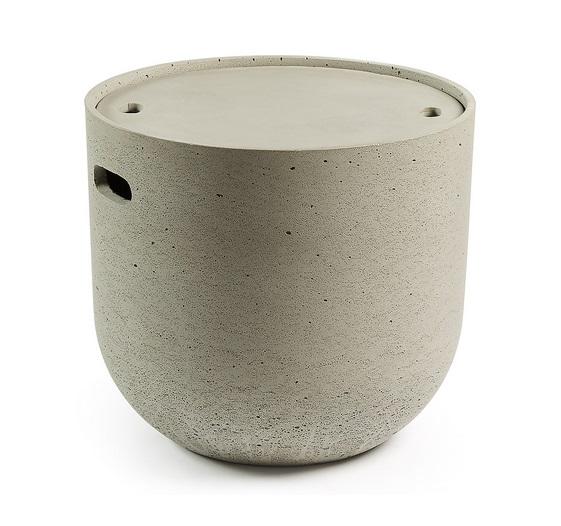 Mesa auxiliar contenedor de cemento gris 45x49