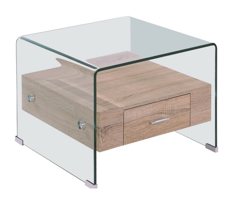 Mesa auxiliar cristal transparente cajon roble 50x50