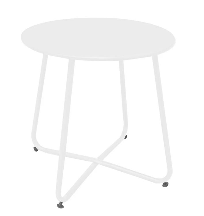 Mesa auxiliar Luna de acero color blanco 45x45 cm
